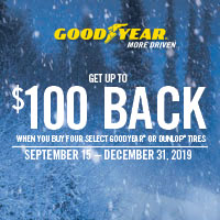 Buy 4 select Goodyear or Dunlop tires between 15 September-31 December, 2019 and get up to $100 back by rebate via Prepaid MasterCard®.