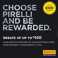 Buy (4) select Pirelli tires between October 1 and December 15, 2019 and get up to $125 in mail-in rebate.